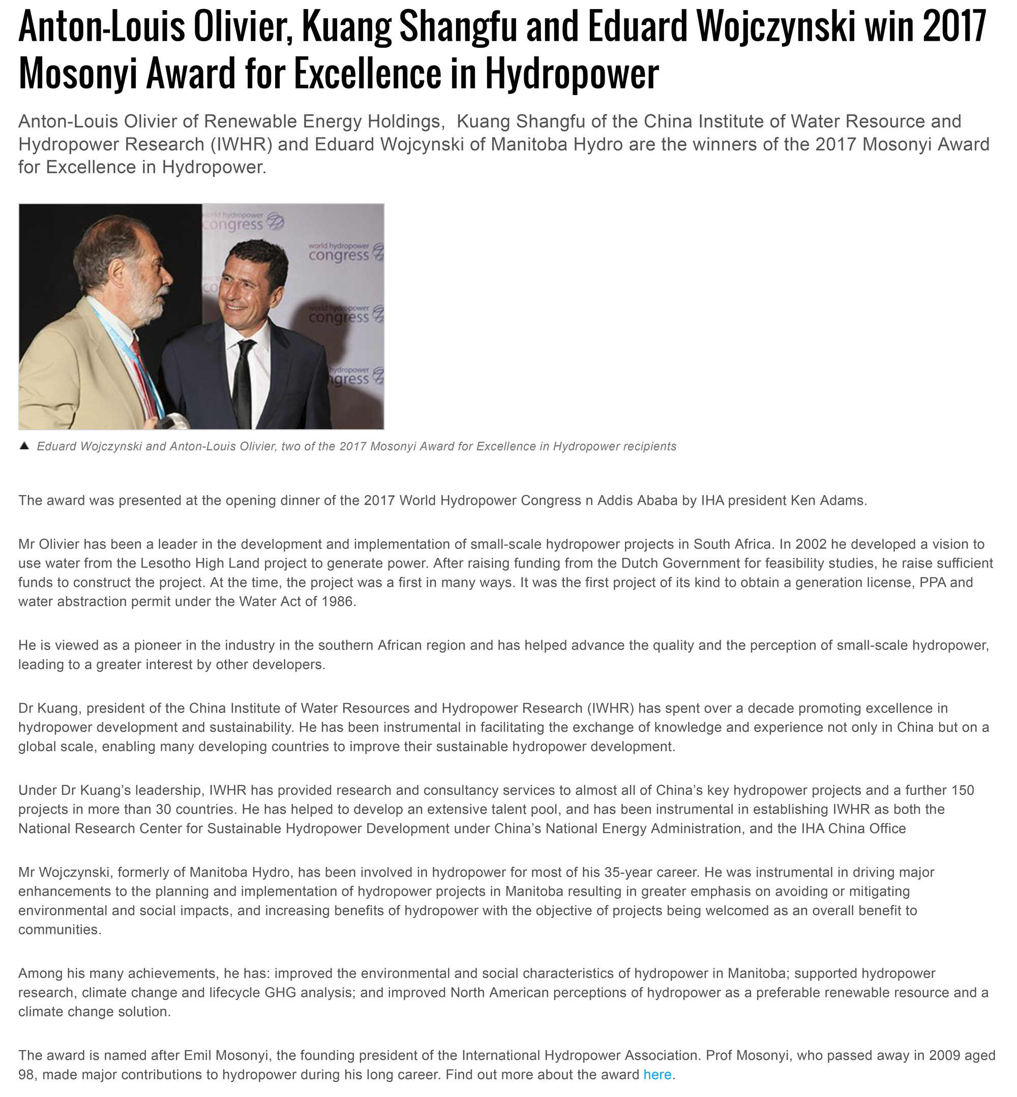 Anton-Louis Olivier, the CEO of the REH group wins the International Hydropower Association's 2017 Mosonyi award for Excellence in Hydropower