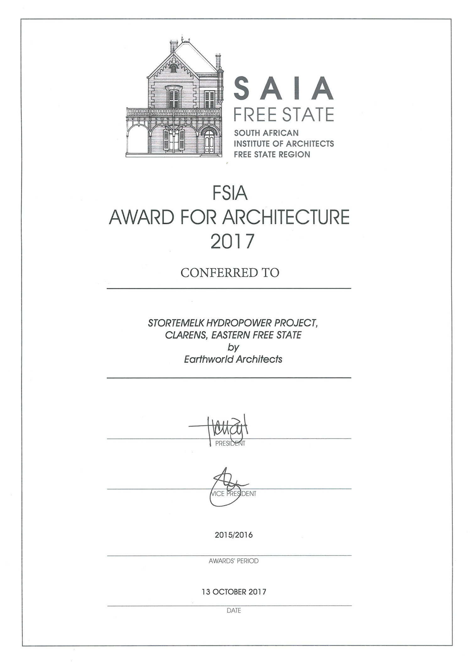 Stortemelk hydro has received a 2016 Award for Architecture from the South African Institute of Architects (Free State Region).